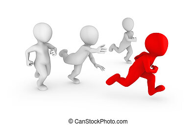 3d white people running with a red leader.