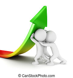 3d white people sales growth, isolated white background, 3d image