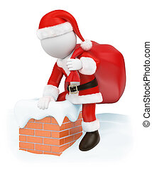 3D white people. Santa Claus coming down a chimney