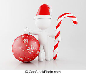 3d White people santa claus with christmas decoration