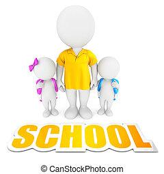 3d white people school