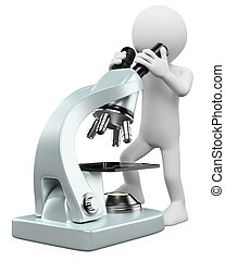 3d white person looking through a microscope. 3d image. Isolated white background.