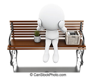 3d White people seated on a bench with his stuff - 3d...