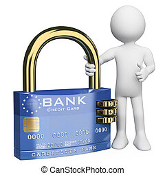 3d white person with a secure credit card padlock. 3d image. Isolated white background.