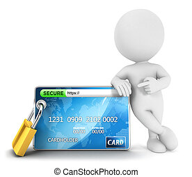 3d white people secure payment, isolated white background,...