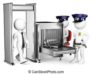 3D white people. Security control airport access. Metal ...