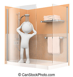 3D white people. Showering in the morning