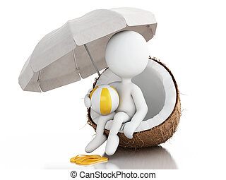 3d white people sitting in a coconut. Beach vacaction concept.
