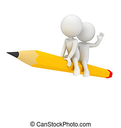 3d white people sitting on pencil