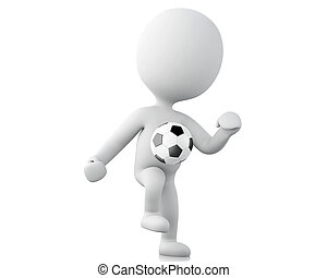 3d white people, soccer player with ball.