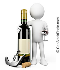 3D white people. Sommelier with a bottle of red wine - 3d ...