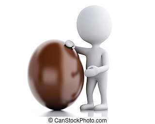 3d white people standing next to an Easter egg.