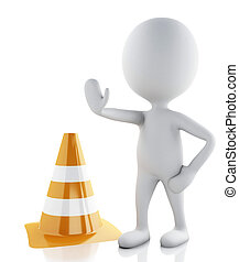 3d white people stop sign with traffic cones on white...