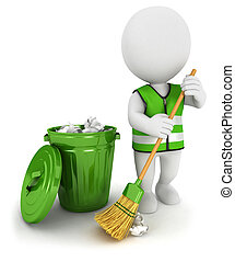 3d white people street sweeper - 3d white people street s...
