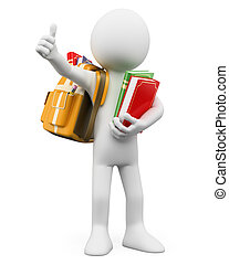 3d white person with a backpack and thumb up. 3d image. Isolated white background.