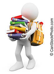 3D white people. Student carrying a stack of books - 3d...