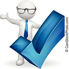 3d white people student man with check right symbol logo