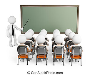 3d white people. Students in class with teacher and blank chalkboard. Isolated white background.
