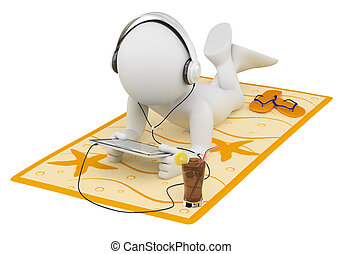 3d white person lying on a towel reading with a tablet and headphones. 3d image. Isolated white background.