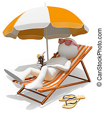 3d white person sunbathing on a lounger with a refreshing drink. Isolated white background.