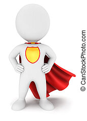 3d white people superhero return, isolated white background,...