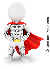 3d white people superhero with an armour, isolated white...