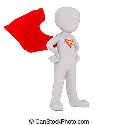 3D White People Superman waving cape
