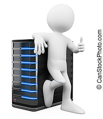 3d white people. System administrator with a server and thumb up. Isolated white background.