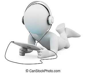 3D white people. Tablet and headphones - 3d white person ...