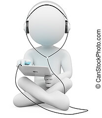 3D white people. Tablet and headphones - 3d white person...