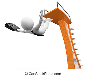 3D white people. Take risks in business metaphor - 3d white...