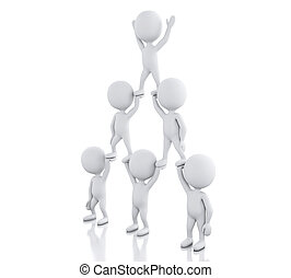 3d White people, team work. Business concept.