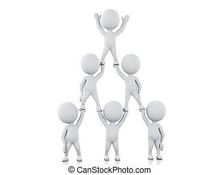 3d White people team work. Team work concept.