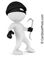 3d white people thief - 3d white people masked thief with a ...