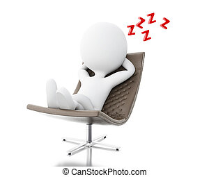 3d White people tired - 3d illustration. White people tired,...