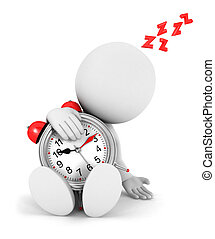 3d white people tired with a alarm clock, isolated white...