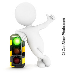 3d white people traffic light
