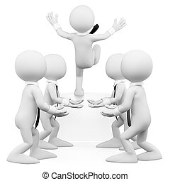 3d white business work team helping a coworker. 3d image. Isolated white background.