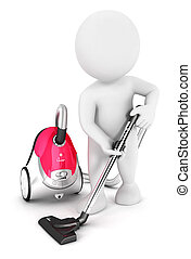 3d white people uses vacuum cleaner, isolated white...