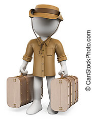 3d white people. Vintage traveler with two suitcases. Adventurer. Archaeologist. Isolated white background.