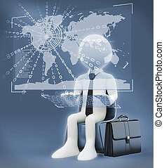 3D white people. Virtual global world business