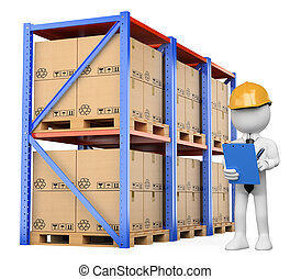 3d white person checking the warehouse. Isolated white background.