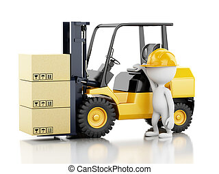 3d white people with a forklift and cardboard boxes - 3d...
