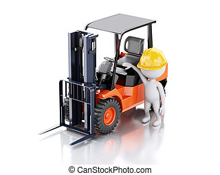 3d white people with a forklift truck