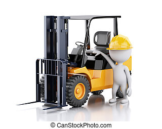3d white people with a forklift truck.