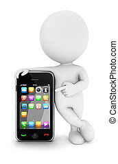 3d white people with a smartphone, isolated white...