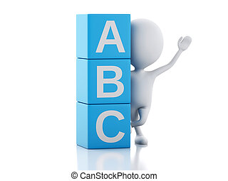 3d white people with ABC cubes on white background. - 3d ...