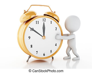 3d white people with Alarm clock - 3d renderer image. White...