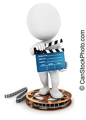 3d white people with amovie clapper - 3d white people ...