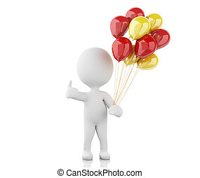 3d White people with balloons.
